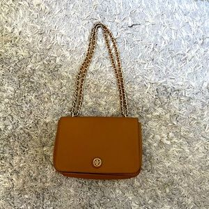 Tory Burch Brown Shoulder Bag with gold chain